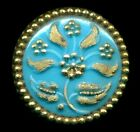 Lovely Turquoise Victorian Glass Antique Button with Gold Luster7 8