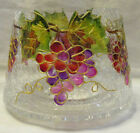 Yankee Candle Jar Shade VINEYARD GRAPES Hand Painted clear crackle glass w gold