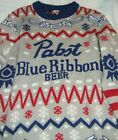 PABST BLUE RIBBON beer Ugly Christmas Sweater XL new old stock promo shirt