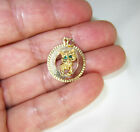 Vintage 14K Gold Kitty Cat Green Eyes Small Disk Charm or Pendant 2 Grams