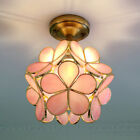 1 Light Pink Floral Ceiling Light Fixture Retro Style Stained Glass Flush Mount