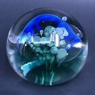 Signed Seegers  Fein Blown Glass Paperweight Blue Green Somerso Bubbles 2008