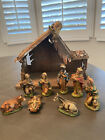 Vtg NATIVITY 10 Pc creche manger wood pottery made in ITALY hand painted art