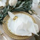 8 Pack 13 Round Clear Glass Charger Plates with Silver and Gold Braided Rim
