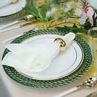 8 Pack 13 Round Clear Glass Charger Plates with Green and Gold Braided Rim