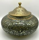 Mosaic Glass Iridescent Covered Bowl Ornate Lid Large Dramatic