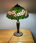 Signed Handel Stained Glass Flowers Bronze Lamp 23 Excellent