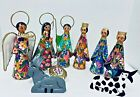 Mexican Folk Art Punched Tin Nativity Christmas 9 PC Baby Jesus Virgin Mary