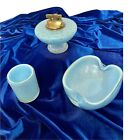 Murano Glass Barbini 3 Piece Blue Gold Bullicante Smoking Set with Labels MCM