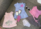 American Girl tagged 18 doll clothes  Pink top Gray Plaid Dresses And Skirt