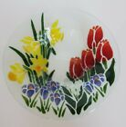 PEGGY KARR GLASS 85 TULIP DAFFODILS PLATE BOWL HAND SIGNED COLORFUL ART GLASS
