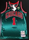 100% Authentic Derrick Rose Chicago Bulls HWC Green Mitchell and Ness Jersey