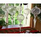 Set 6 Clear Swirl Glass Finial Ornaments by Valerie Parr Hill Large 10 Length