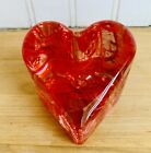 New In Original Box Fire And Light Pink Red Swirl Heart Paperweight Signed