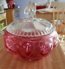 Vintage Fenton Art Glass Cranberry Candy Dish With Crystal Beaded Lid