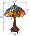Tiffany Style Stained Glass Red Dragonfly Table Lamp 16 Shade New