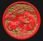 Antique ButtonLarge Red Glass Asian Theme Pictorial Collecting Cherry Blossoms