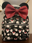 Loungefly Disney Minnie Mouse Mini Backpack Red Bow W Minnie Ears NWT In Hand