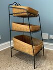 Longaberger 2000 Wrought Iron 3 Tier Bin Basket Stand, Baskets and Protectors