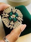 Signed Capri Layered Brooch Pin with Glass Emerald Cut Stones  Pave Rhinestones