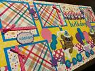 Birthday Bears Train Girl premade Scrapbook Pages Paper Piecing Diecuts 12x12