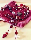 Red Heart Venetian Glass ClearCrystal Beaded Necklace Tassell 45 Sunya Currie
