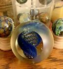 Art Glass Paperweight blue w window controlled bubbles signed Rollin Karg
