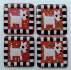 Set of 4 Handcrafted Fused Glass DOG Coasters Red w Black  White Check Border