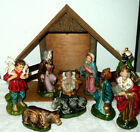 1940s VINTAGE WALES NATIVITY HAND PAINTED COMPOSITION 9 FIGURES W MANGER JAPAN