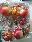 INGE Glas Lot of 9 Food OrnamentsGermany Peaches pear pickle tomato carrot
