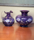 FENTON ART GLASS 1998 ROYAL PURPLE COLONIAL SCROLL Limited Signed S Hopkins Vase