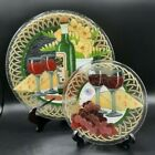 Set of 2 Peggy Karr Fused Glass Plates Grapes Wine Cheese Flowers 11  775
