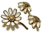 Signed Crown Trifari Poured White Milk Glass Flower Brooch Pin Earring Set L1
