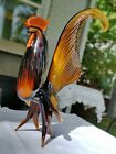 VTG LARGE BLOWN GLASS MEXICAN ROOSTER 12 TALL MINT Rare Color Murano Style