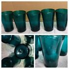5 Vtg Teal Blue Hand Blown Glass Drink Glasses Juice Tumblers Mexico Rustic K