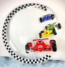 Peggy Karr Huge 20 RACING CARS Platter Plate Fused Glass Made in USA Rare
