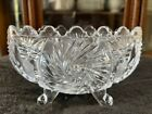 Vintage 50s Bohemian Czech Cut Crystal Glass Footed Bowl 7