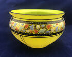 Vintage Czech Green Yellow Hand Painted Stained Art Deco Glass Bowl Black Band
