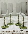 Clear Glass Long Green Stem  Base Decorative Bead Champagne Flutes Wine Glasses