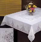 "Tablelcloth Vinyl Lace, 60""x90"" Rectangular White, New"