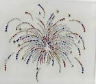 Firework Spray July 4th Iron On Rhinestone Design Hot Fix Transfer Motif