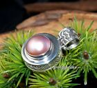 OPEN WORK PINKISH MABE PEARL 925 SILVER ROUND PENDANT 33M