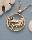 Mermaid  Dolphins Coin Pendant  Necklace Hand cut 1 1 8 diameter   638