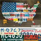 36Wx24H FIFTY STATE FLAG by AARON FOSTER AMERICA USA CAR LICENSE PLATES CANVAS