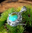 OPEN WORK SCROLL WORK SENSATIONAL TURQUOISE 925 SILVER ROUND PENDANT 35MM