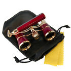 HQRP Opera Glasses Burgundy Gold with Handle
