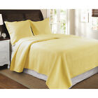 CLASSIC TEXTURED PATTERNED YELLOW QUILT SET WITH SHAMS - KING OR QUEEN SIZE