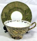BEAUTIFUL FOOTED ELIZABETHAN BONE CHINA CUP & SAUCER GOLD GILDED