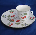 CROWN STAFFORDSHIRE HAMPTON SNACK PLATE AND CUP CHERRY BLACKBERRY BLUEBERRY