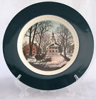 DELANO STUDIOS NEW ENGLAND VILAGE AND CHURCH DINNER PLATE ABALONE SHELL CHINA
